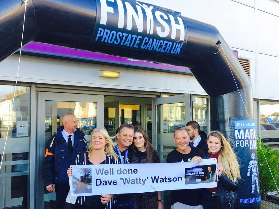 Dave 'Watty' Watson completes the 2017 Jeff Stelling March For Men 28 mile sponsored walk for Prostate Cancer UK