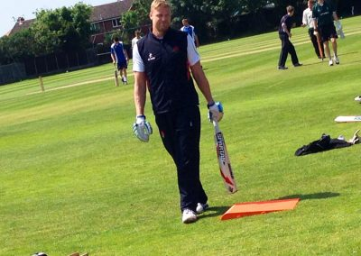 Andrew 'Freddie' Flintoff warming up at St Annes CC 31 May 2014