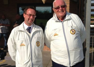 Umpires Ken Ashworth & Barry Evans at St Annes CC in 2013