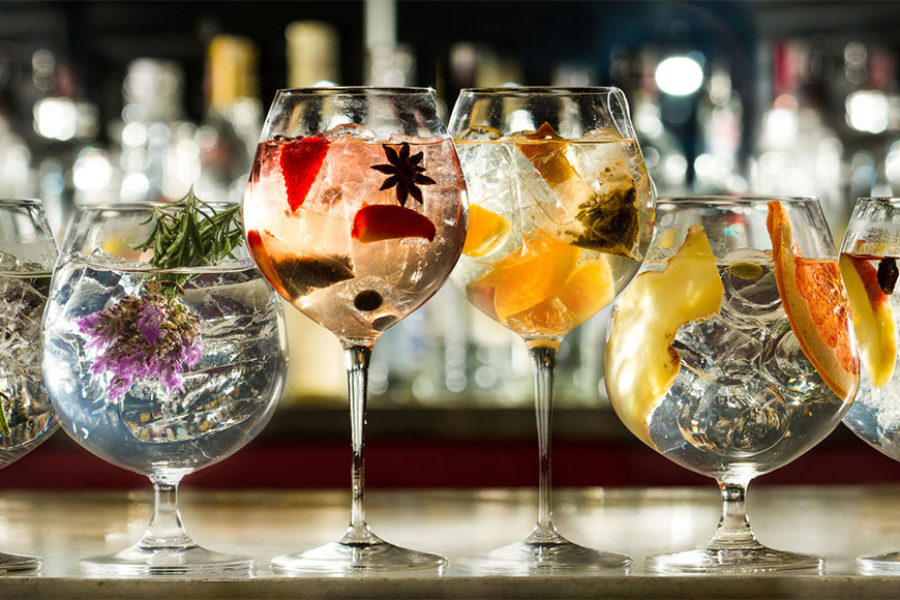 Delicious selection of gins, traditional and fruity