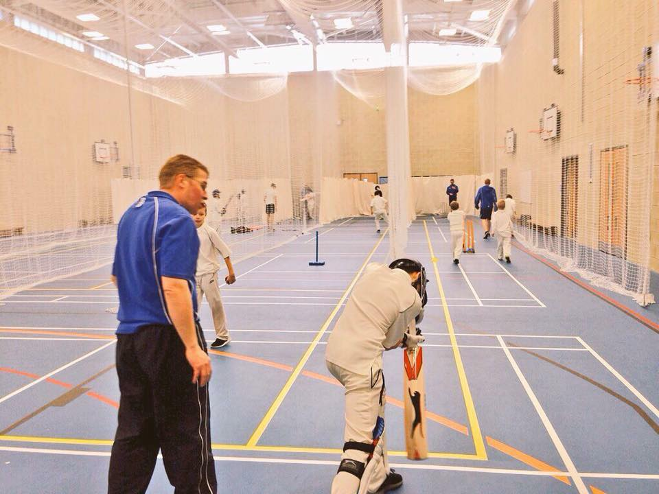Indoor nets junior cricket coaching at AKS Sports Hall - Neil Bradley Junior Cricket Chairman