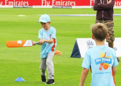 St Annes CC child batting at Lancs CCC All Stars Cricket demo Aug 2017