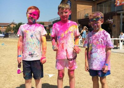 Boys looking very colourful after the Colour Run 2018
