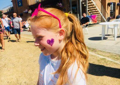 Colour Run 2018 glitter heart face paint