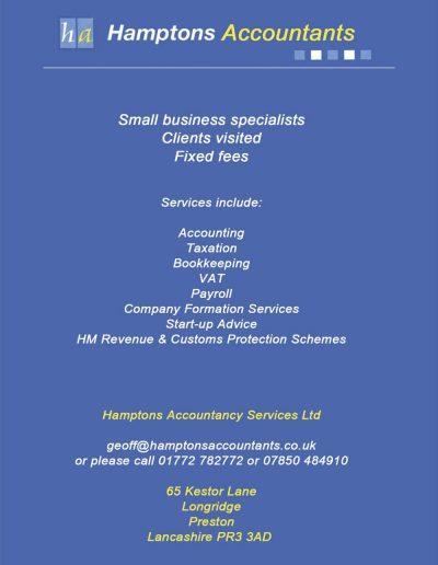 Hamptons Accountants sponsors St Annes CC
