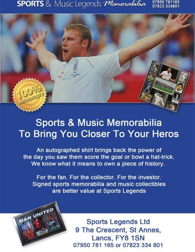 Sports & Music Legends Memorabilia sponsors St Annes CC