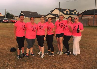 Womens Softball Cricket Festival players with prosecco 1 June 2018 - St Annes CC