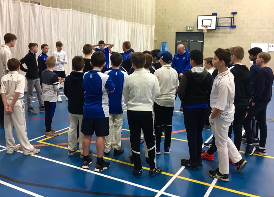 Junior players receive positive & inclusive coaching at indoor nets by Neil Bradley & Dave Hopkinson