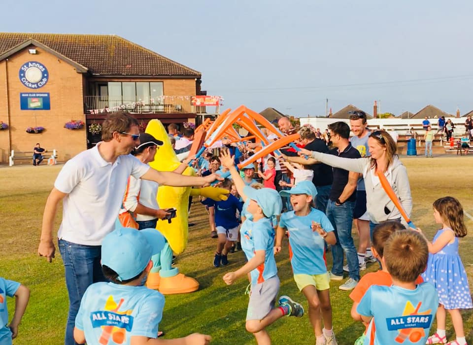 All Stars Cricket parents & children guard of honour at St Annes CC