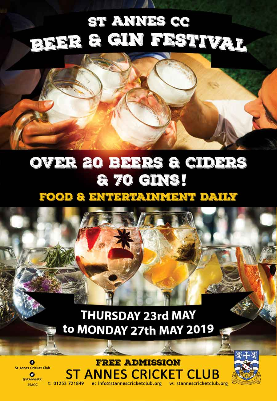 5 day Beer & Gin Festival at St Annes CC 23-27 May 2019