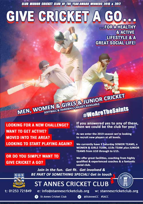 Enjoy the social & give cricket a go!  Beginners & experienced senior & junior players welcome at St Annes CC