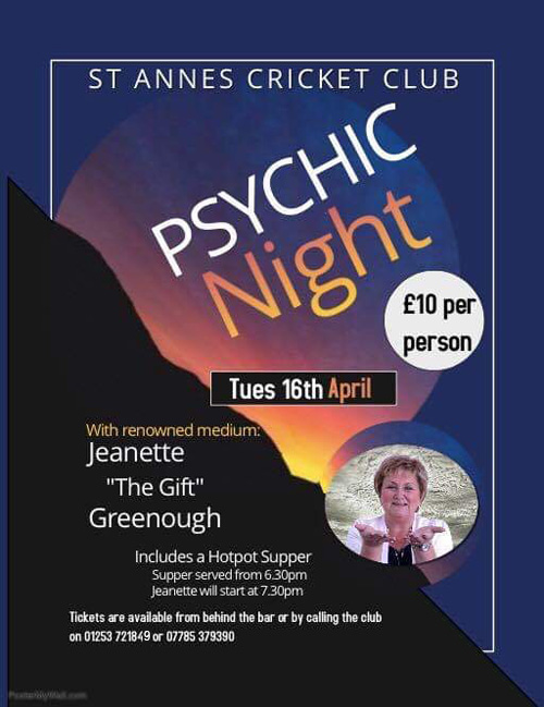 Psychic Night with Jeanette The Gift Greenough at St Annes CC