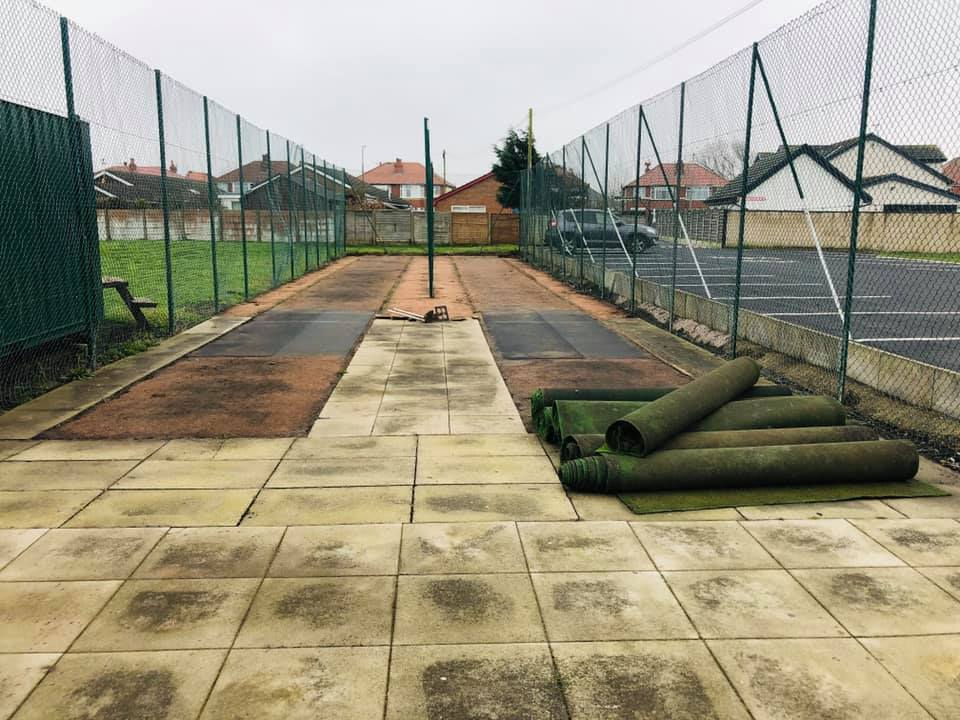 Outdoor nets during refurbishment Feb 2019