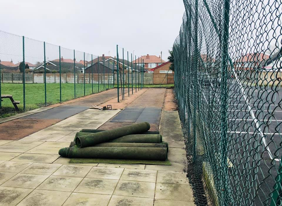 Outdoor nets with the old artificial wickets removed