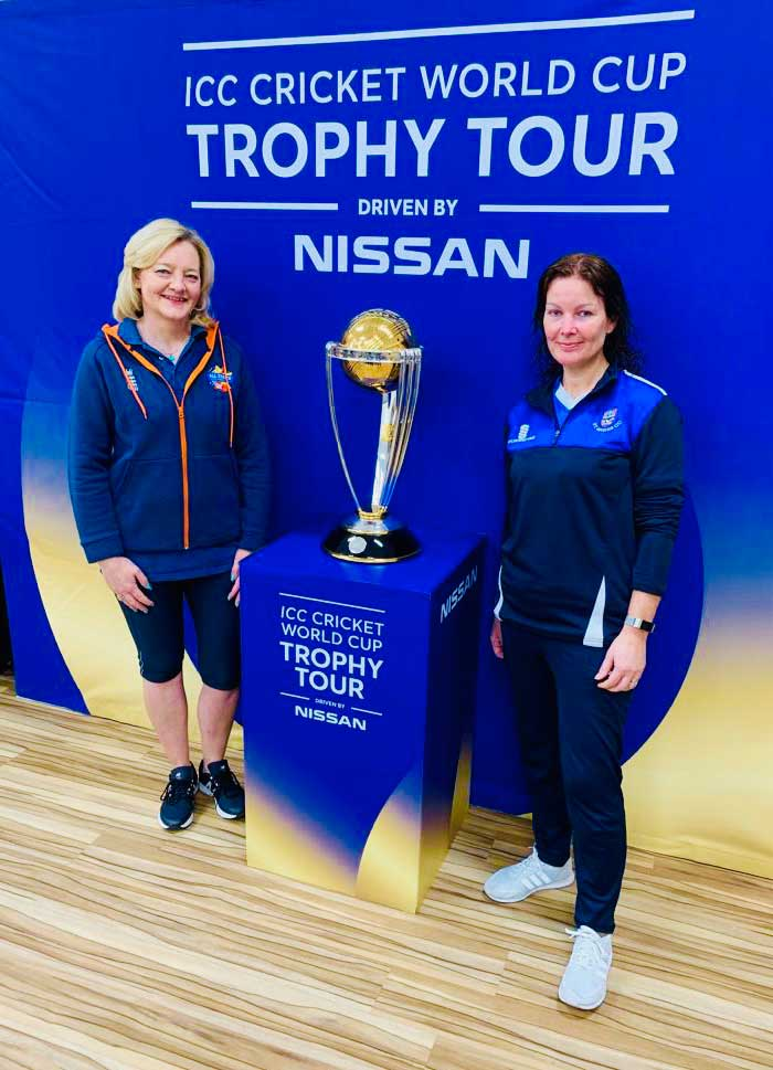 St Annes CC All Stars Activator Bernie Bradley & Womens 1st XI Captain Michelle Birkman attending the ICC World Cup Trophy Tour at Heyhouses Primary School St Annes