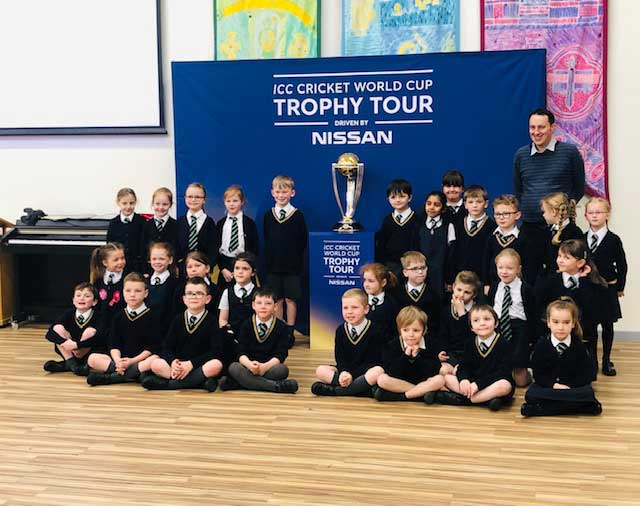 ICC World Cup 2019 Trophy Tour & photos with the children