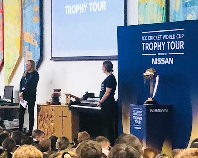 ICC World Cup 2019 Trophy team showed a video of what's to come to the Heyhouses children & teachers