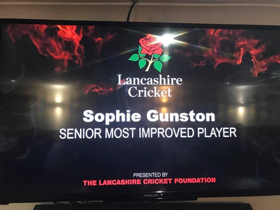 Sophie Gunston - winner of the Senior Most IAnnouncement of Sophie's win at the Lancashire Cricket's Women & Girls Awards night