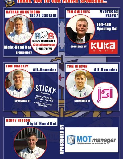 Thank you to our 2019 Player Sponsors