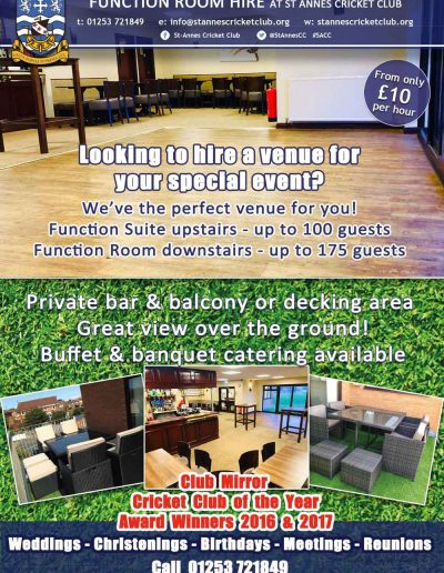 Sponsors receive FREE function room hire for an event at St Annes CC