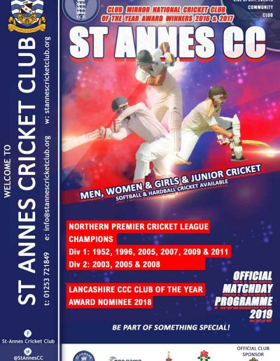 Support us by buying our Matchday Programme available at 1st XI home games