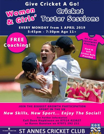 Women & Girls Cricket at St Annes CC every Monday evenings @ 5:45pm