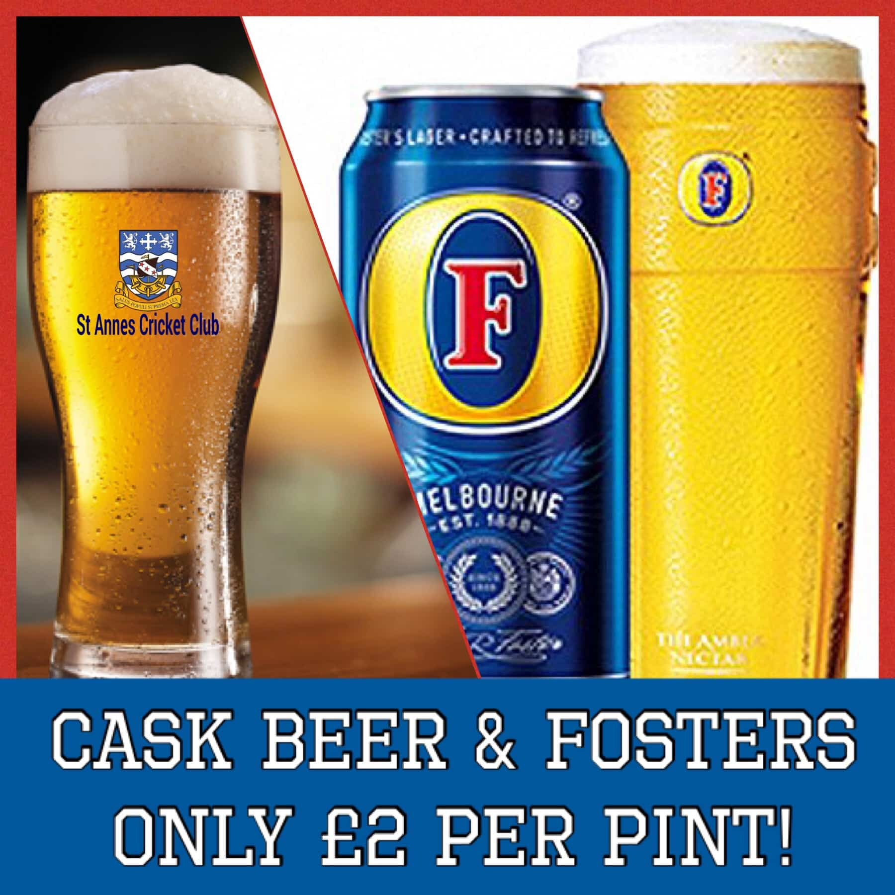 Cask Beers & Fosters £2 per pint drinks offer