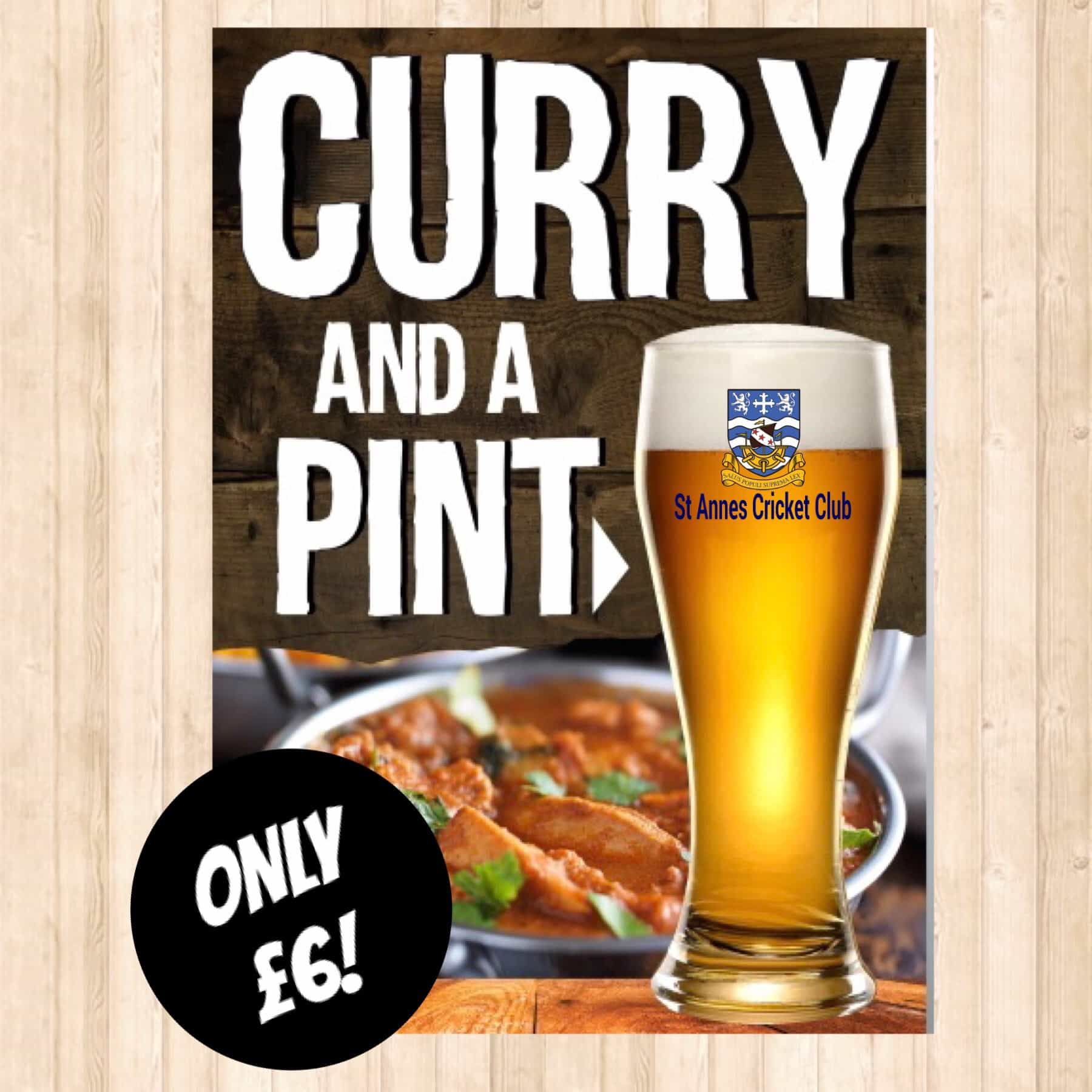 Curry & a pint £6 food & drink offer at St Annes CC