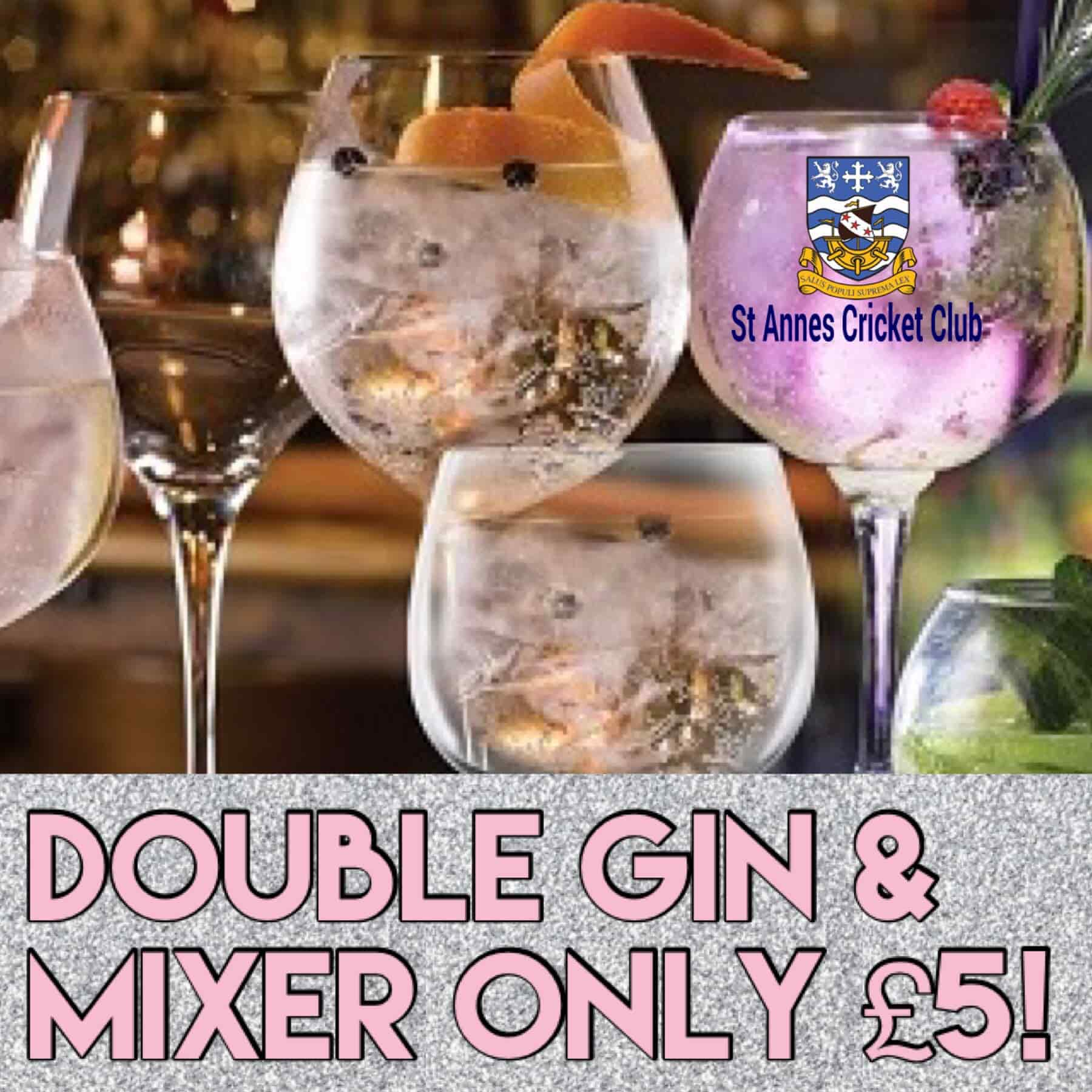 Gin double & mixer £5 drinks offer