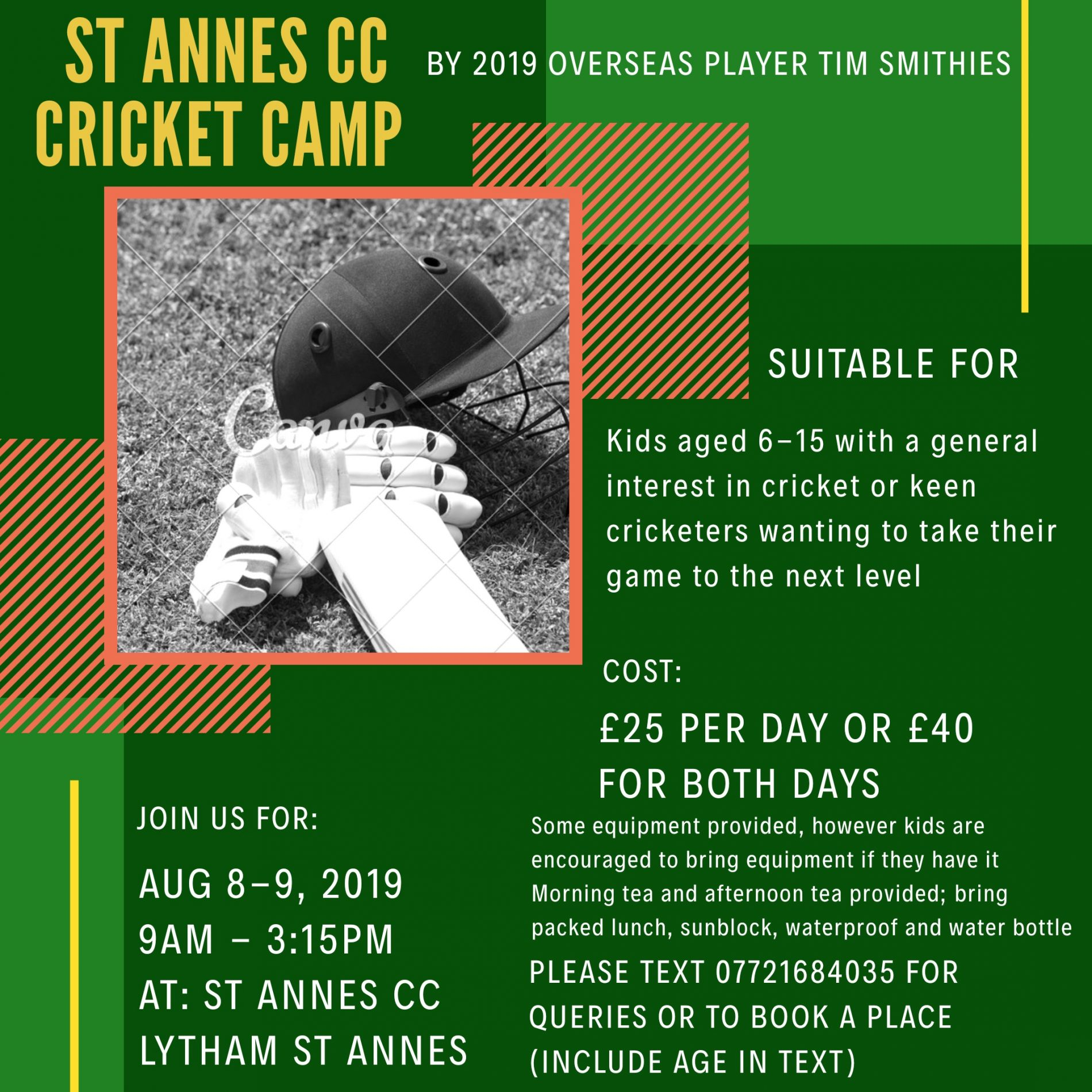 2 Day Cricket Camp with overseas player Tim Smithies 8 & 9 Aug 2019