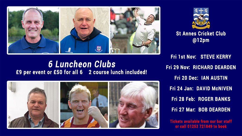 Luncheon Club speakers at St Annes CC from Nov 2019 to Mar 2020