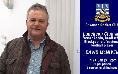 Luncheon Club With Former Professional Footballer David McNiven & 2 Course Lunch – Fri 24 Jan 2020