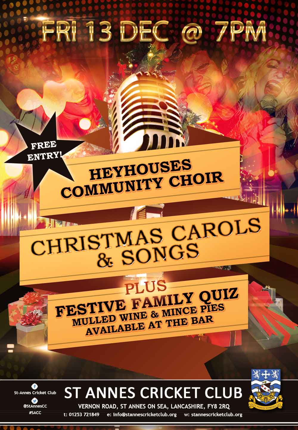 Heyhouses Community Choir Christmas carols & songs followed by a festive quiz at St Annes CC