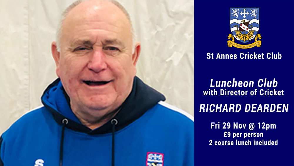 Enjoy a Luncheon Club with cricket coach & speaker Richard Dearden