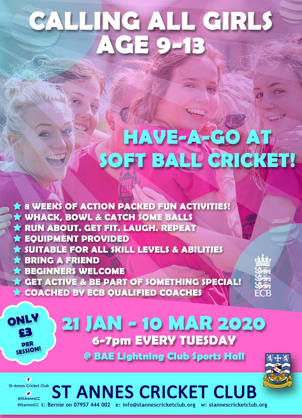 Fantastic Soft Ball Cricket activity for girls age 9-13 at St Annes CC