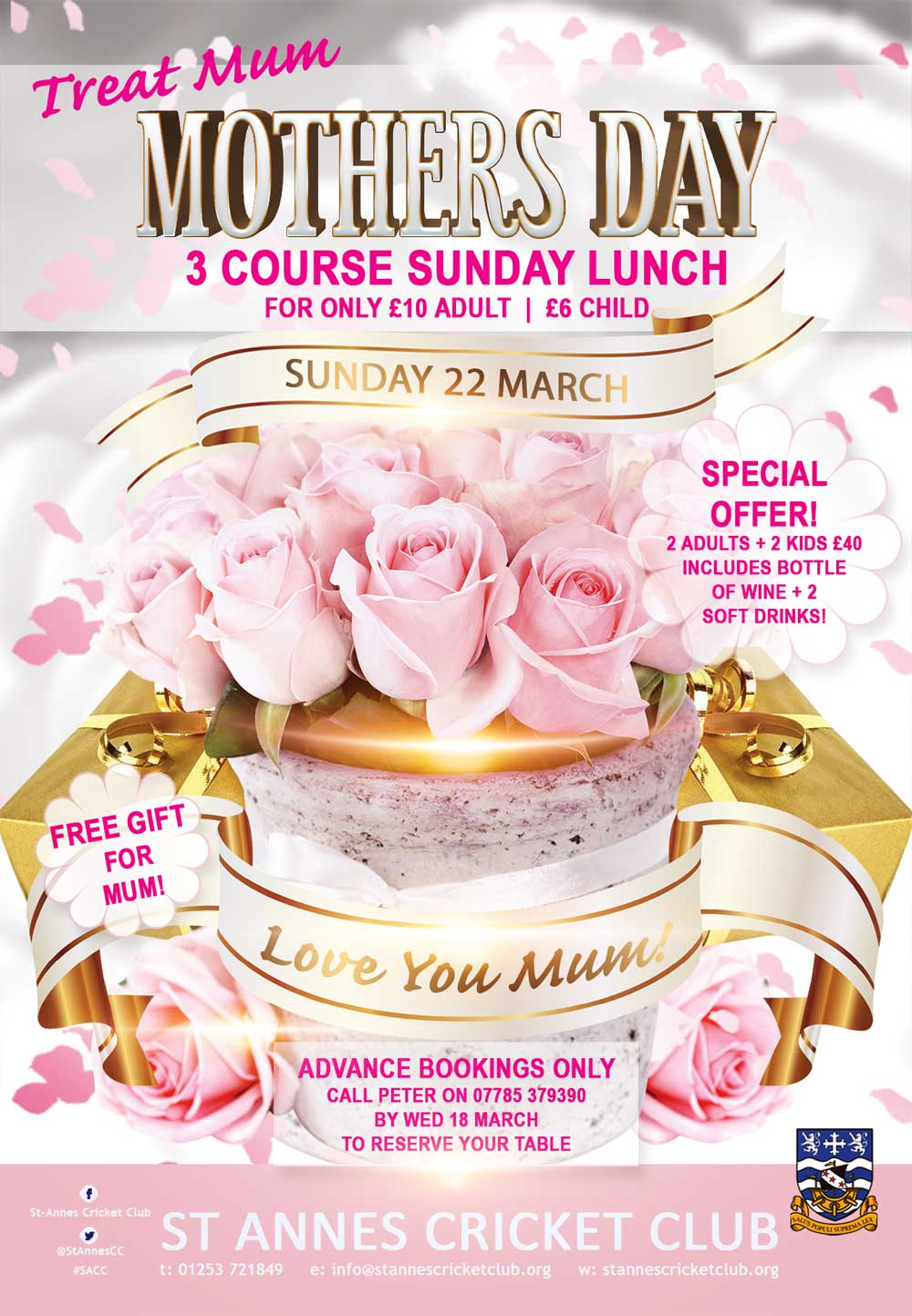 Treat Mum to a delicious 3 course Sunday Lunch with all the trimmings at St Annes CC