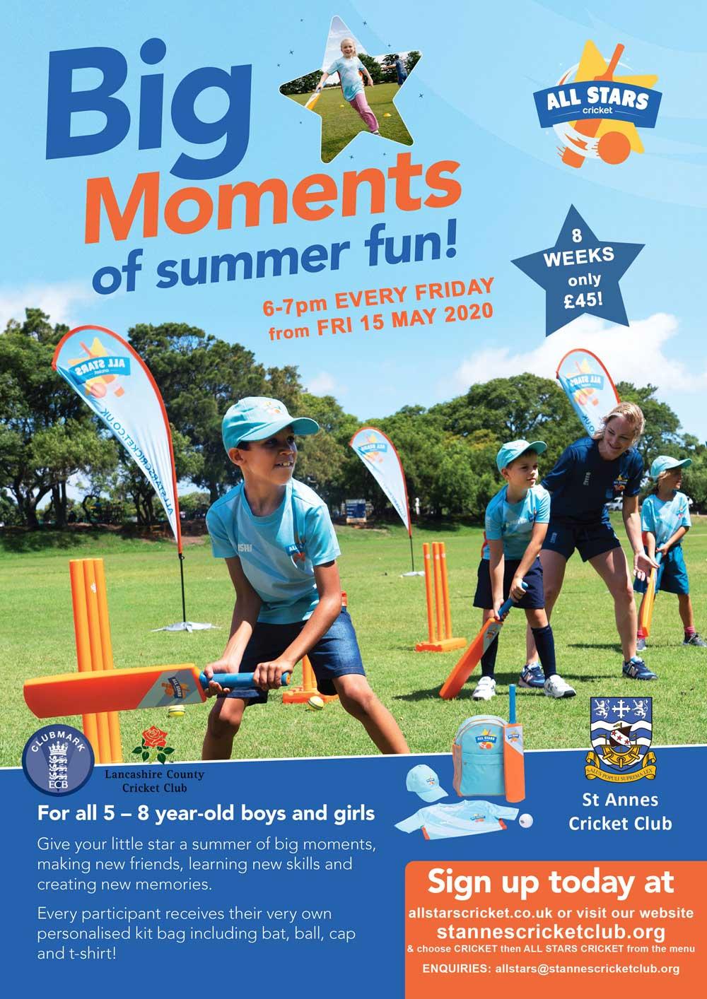 Enjoy a summer of fun at All Stars Cricket at St Annes CC!
