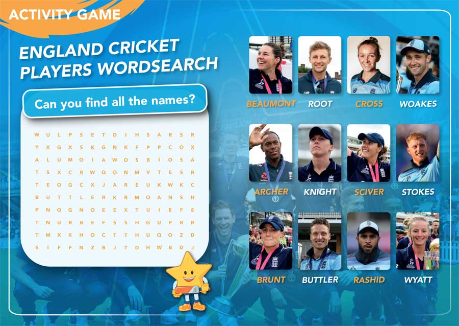 FREE All Stars Cricket 2020 Activity Booklet - word search game