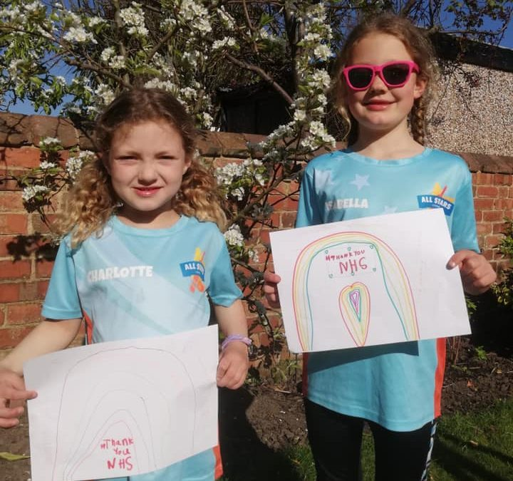 All Stars Cricketers Isabella & Charlotte express their thanks to our NHS