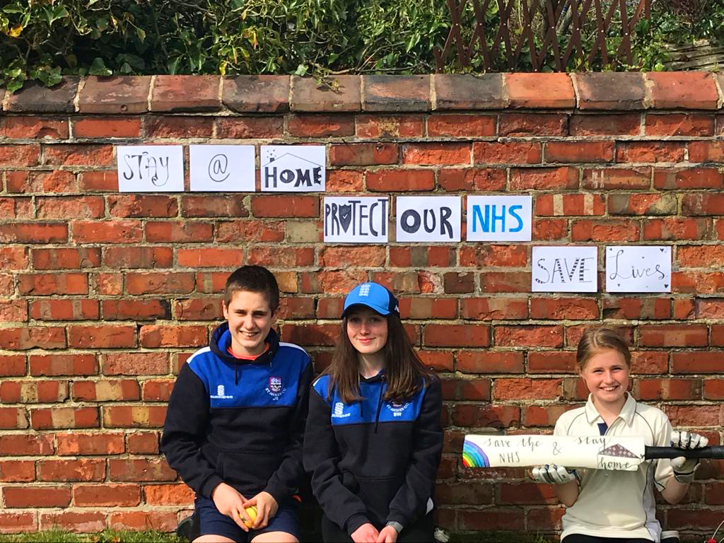 Our junior cricketers James, Beth & Hannah express their thanks to our NHS
