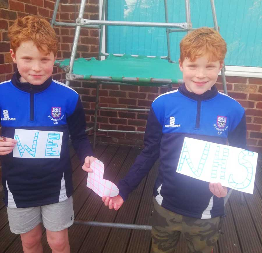 Junior cricketers Leo & Casey express their thanks to our NHS