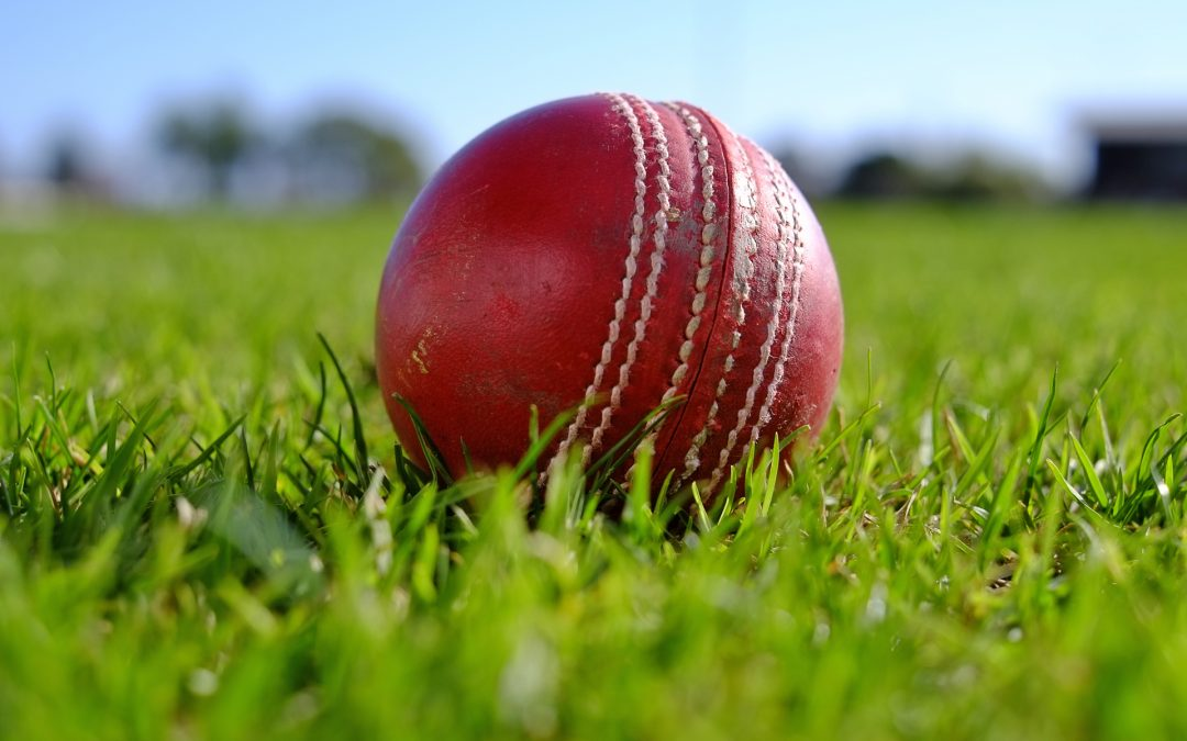 Cricket ball on grass close up at St Annes CC