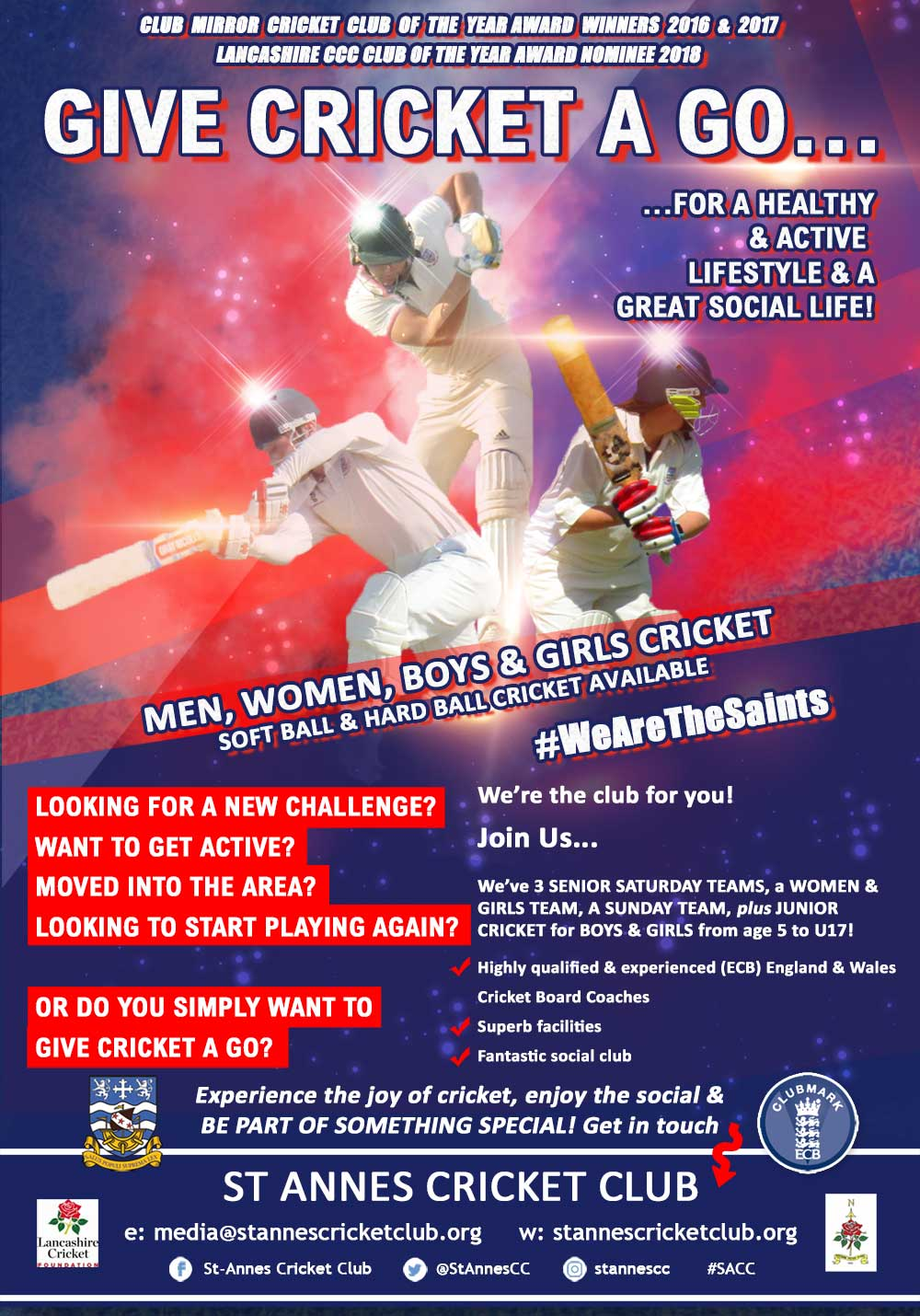 Enjoy the social & give cricket a go! Beginners & experienced men, women, boys & girls welcome at St Annes CC