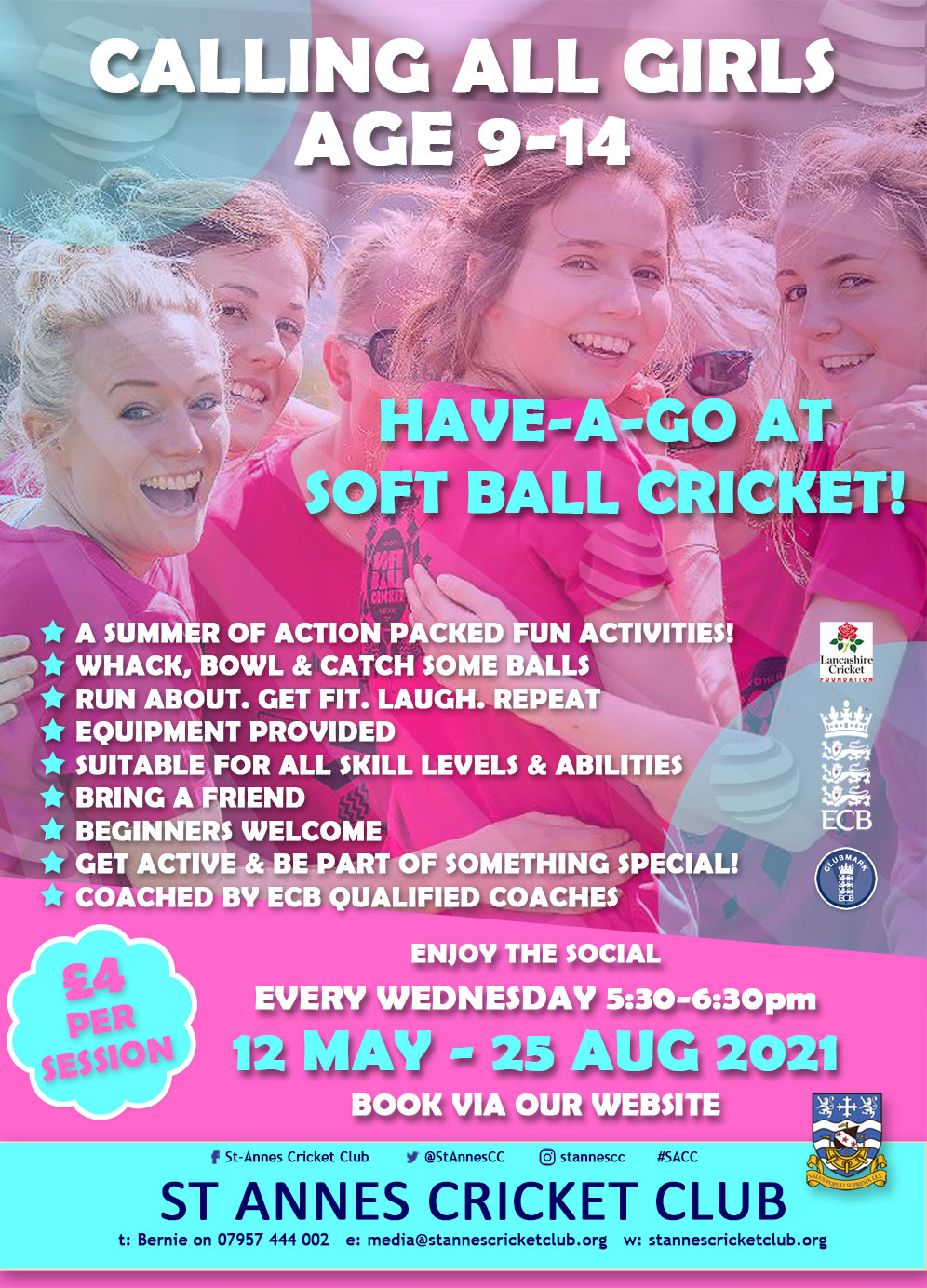 Fantastic Soft Ball Cricket fun for girls age 9-14 at St Annes CC!