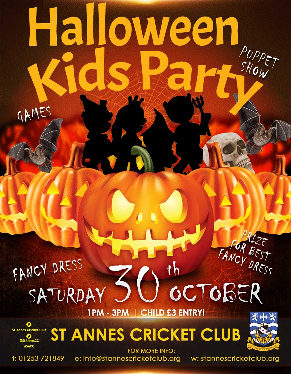 SPOOKY Halloween children's party games & puppet show at St Annes CC
