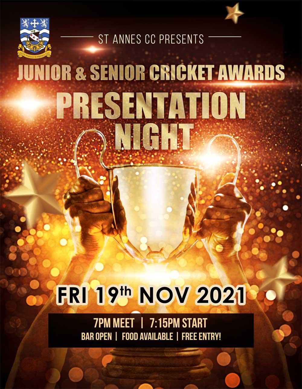 Junior & Senior Cricket Awards Presentation Night at St Annes CC